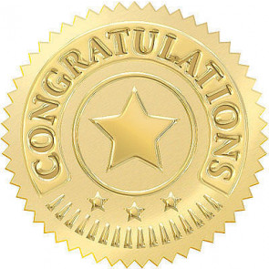 Award Seals   Congratulations in Gold for Kids