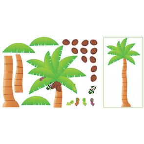 Classroom Display Set   Tropical Palm Tree with Coconuts, Monkey and Ghekkos