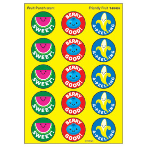 Kids Stickers | 60 Friendly Fruit, Fruit Punch Scent Stinky Stickers