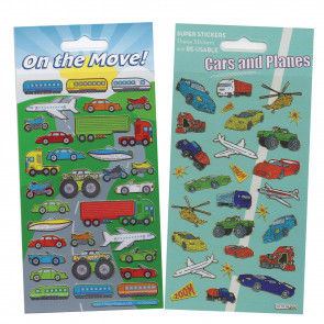 Premium Kids Stickers | Cars and Planes On the Move Glitter Stickers -  2 Pack Stickers Set