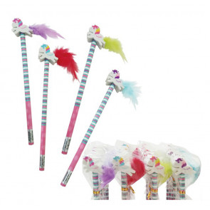Party Bag Fillers | Feather Tail Unicorn Eraser Topper Pencils x 12