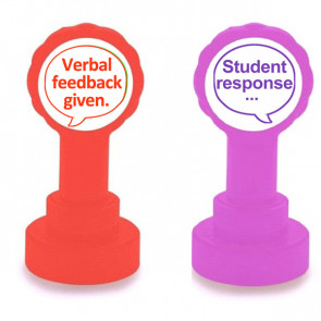 Teacher Stamps | Verbal feedback given (Red ink) and Student response - 2 stamper set