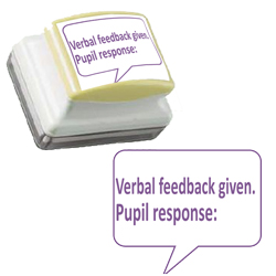 Teacher Stamp - Verbal Feedback Given. Pupil response:
