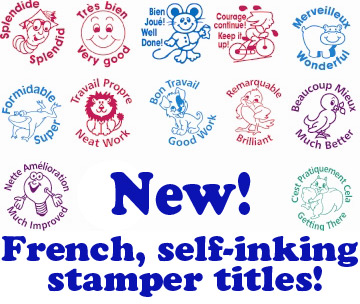 French marking and praise self-inking stampers