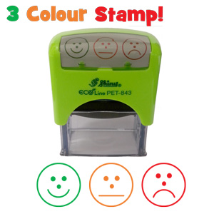 Three colour, three faces, self-assessment teacher stamp