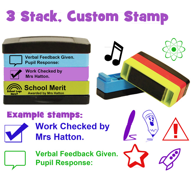 Custom Teacher Stamp - 4 Stack Multistamp