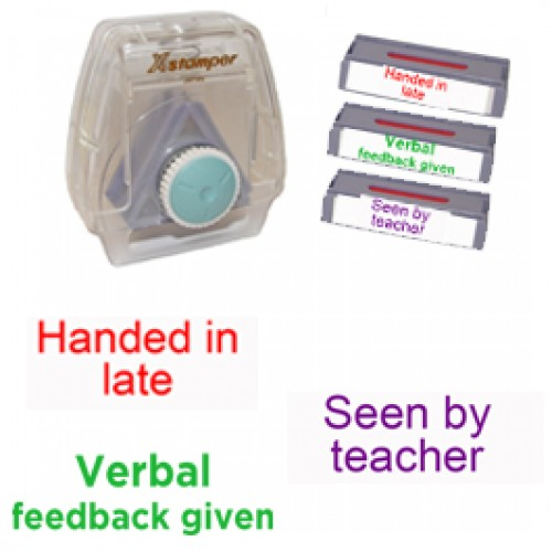 Xstamper3-in-1 Pre-filled set: Handed in late, Seen by teacher, Verbal feedback given - teacher marking stamps.