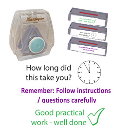 Xstamper3-in-1 Pre-filled set: How long did this take, Remember take care..., Good practical work - teacher marking stamps.