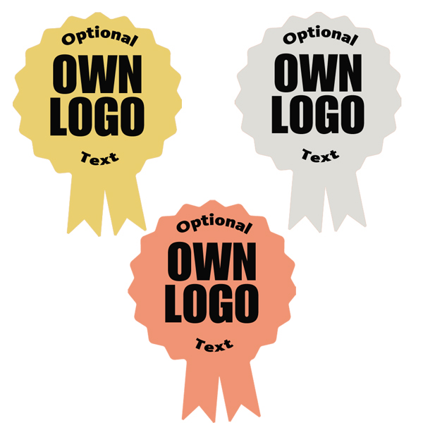 Own logo/image personalised gold, silver, bronze rosette stickers