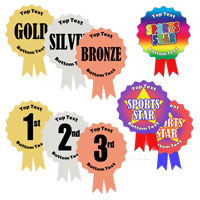New Metallic, Rosette Shaped, Personalised Stickers