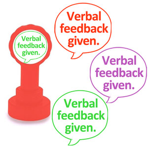 Verbal feedback stamps in red, green and purple ink