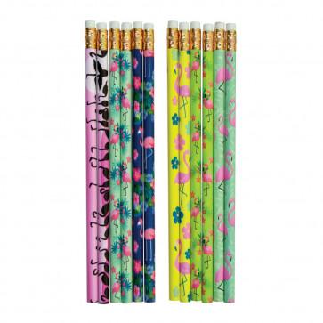 Class Gifts / Party Bag Fillers | Fabulous Flamingo HB Pencils x 12.