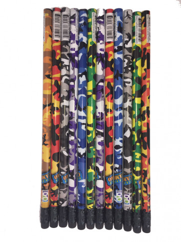 Party Bag Fillers | 12 Mixed Camouflage HB Pencils
