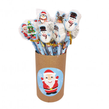 Christmas Cheap Gifts   Bulk Stationery - Christmas Pencils with Santa, Snowman, Rudolph Topper Erasers