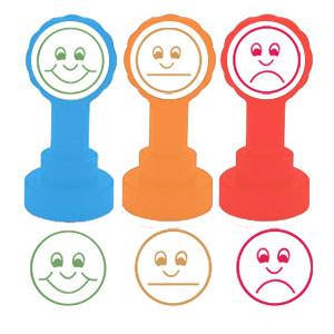 Kit 3 tampons – 3 visages (Heureux, Triste, Indifférent), couleurs feux de circulation