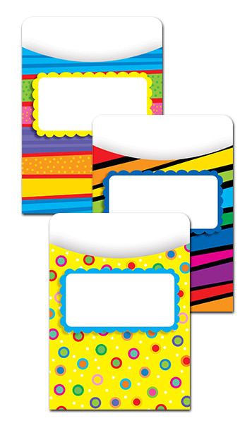 Classroom Organisation Resources | Library Pockets - Poppin' Patterns (Jumbo)