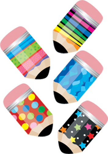 Kids Stickers | Colourful Pencils / Crayons - Mini size ideal for reward and incentive charts