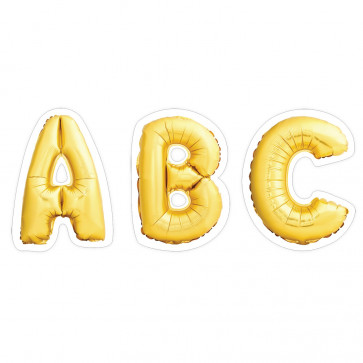 Alphabet Stickers   74 x Gold Star Mylar Balloon Letter Stickers