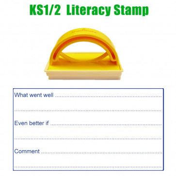 Teacher Stamp | Written feedback prompt stamp with line spaces for EBI, WWW and pupil response