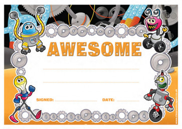 School Certificates | Awesome message, robot / alien design kids awards