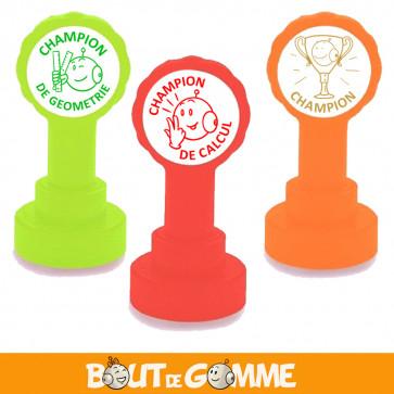 Tampons Encreurs Enseignants   Champion ! Lot de 3 Tampons Bout de Gomme