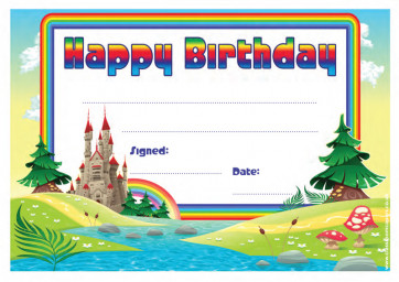 School Certificates | Happy Birthday fairy tale castle design kids awards