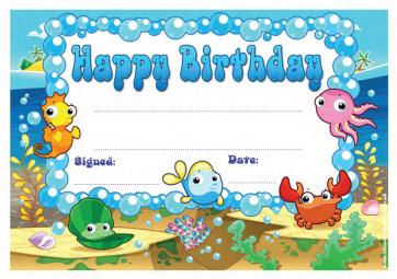 School Certificates | Happy Birthday - Under the Sea kids certificate