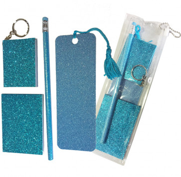 Sparkle Stationery | Blue Glitter Stationery Gift Set - Sparkle Bookmark, Sparkle HB Pencil, Sparkle Notepad keyring and Sparkle Memo