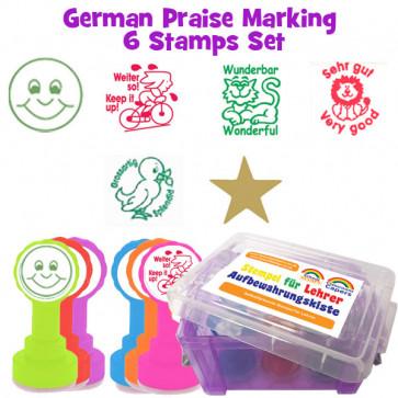 School Stamps | 6 German Bilingual Teacher Praise Stampers