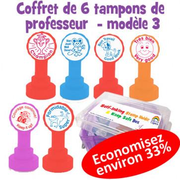 Coffret de tampons modèle 3 pour annotations et messages d'encouragement en français