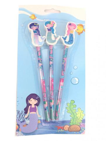 Mermaid Presents | Colourful Mermaid Topper Pencils Gift Pack.