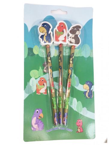 Dinosaur Pencils | Cartoon Cute Dinosaur Topper Pencils Gift Pack.
