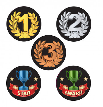 School Stickers | 1st, 2nd, 3rd, Star, Award Sports / Award Shiny Foil Stickers