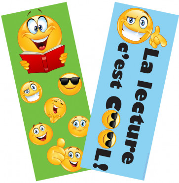 Kids Bookmarks | Emoji La Lecture c'est Cool Double Sided French Bookmarks