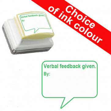 Teachers Stamps | Verbal feedback given. By: Self-inking Stamp - Green, Red or Violet Ink