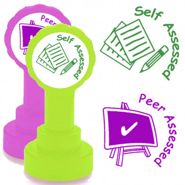 School Stamps | 2 Stamp Set: Peer assessed & Self assessed Self-inking Teacher Stamps