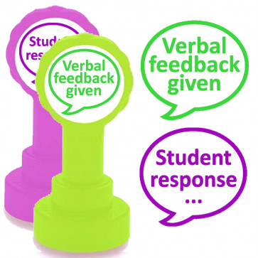 Teacher Stamps | Verbal feedback given and Student response - 2 stamper set