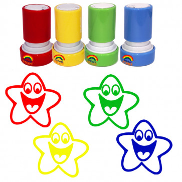 Teacher Stamp Set | 4 Colours Smiley Dollar- Part of the Scottish Curriculum for Excellence Set