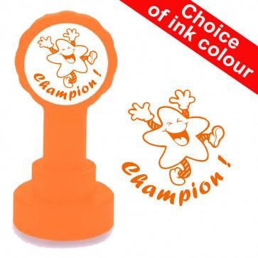 Teacher Stamp   Champion ! Fun Star Orange Ink.