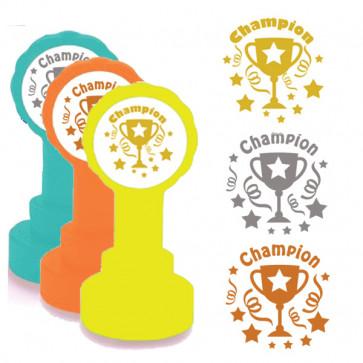 School Stamps | Champion! Trophy Design in Gold, Silver/Grey, Bronze Ink