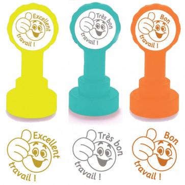 Teacher Stamps   Excellent travail, Très Bon Travail, Bon Travail, Gold, Silver, Bronze 3 Stamp Set