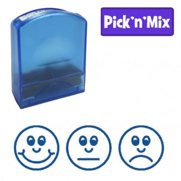 School stamps | 3 Faces, Blue Ink Design Value Stamp