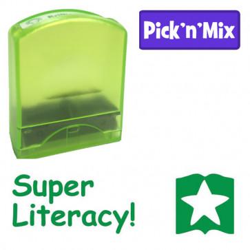 Teacher Stamps |Green ink, Literacy praise self-inking stamp. Book & Star design,