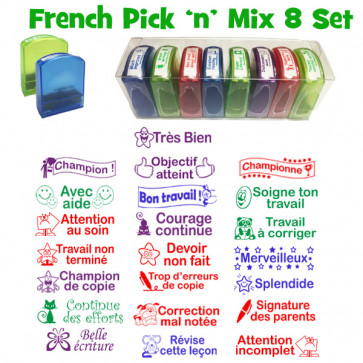 Teacher Stamps | French Value Stamps, Self-inking, Reinkable, Pick 'n' Mix Box Set