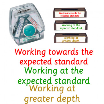 Teacher Stamps | Expected Level-Working At / Towards / Greater Depth 3-in-1 Stamp Set