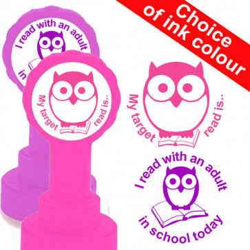 Reading with an adult and My target read is.. Teacher 2 Stamp Set