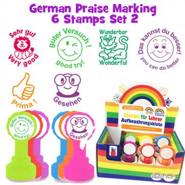 School Stamps | 6 German Teacher Praise Stampers Box Set