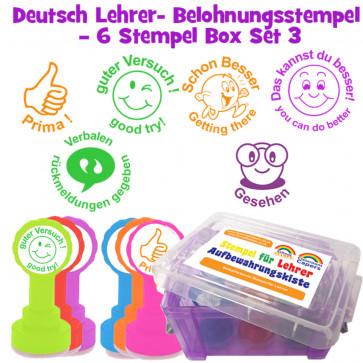 Schulstempel | Deutsch Lehrer-Belohnungsstempel – 6 Stempel Box Set