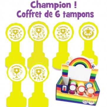 Tampons Encreur | Coffret de 6 tampons encreur - Champion !, Championne !, Champion de: calculs, maths, copie, dictêe
