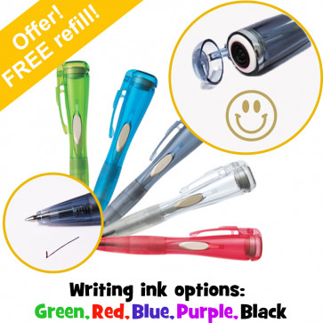 Teacher Stamps   Gold Ink Smiley Face, Artline Clix Pen with Integrated Stamp